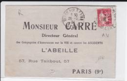 1934 - PAIX PERFORE A.V (ASSURANCES L'ABEILLE) Sur FORMULAIRE D'ACCIDENT De VITRY Pour PARIS - France