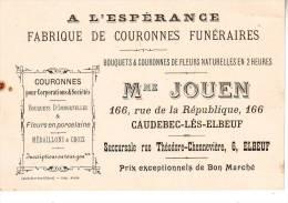 FABRIQUE DE COURONNES FUNERAIRES  A CAUDEBEC LES ELBEUF D76 - Cartes De Visite