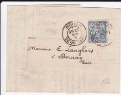 1884 - SAGE PERFORE C.E.R (COMPTOIR D'ESCOMPTE) Sur LETTRE De ROUEN Pour BERNAY - France