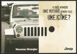 JEEP Depuis Since 1941 Nouveau WRANGLER ICONE Werbekarte Publicité Advertising Card - Voitures De Tourisme