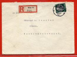 ALLEMAGNE III REICH LETTRE RECOMMANDEE DE 1939 DE VIENNE POUR LA MORAVIE TCHECOSLOVAQUIE - Briefe U. Dokumente