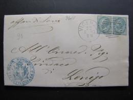 """ITALIA Regno-""""T 16 Torino"""" C. 5 Coppia VICENZA>LONIGO (descrizione) - 1861-78 Vittorio Emanuele II"""