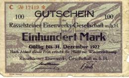 """Deutschland, Banknote 1922 100 Mark. """"Gutschein"""" Rasselsteiner Eisenwerks-Gesellschaft - Germany"""