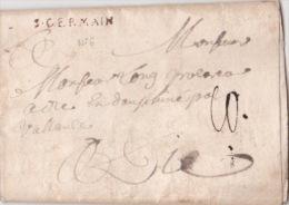 """1756 MP 30x3 """"S. GERMAIN"""" L6  Ind 17 / Seine Et Oise 72 Sur Lettre En PORT-DÛ Pour DIE Drôme / Marque Postale - Postmark Collection (Covers)"""