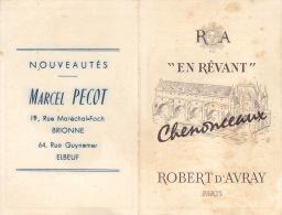 CALENDRIER DE POCHE - 1962 - Chenonceau - Robert D'avray - Paris - Calendriers