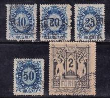 Hongrie 1874 N°Y.T. :  TTel. 10,11,12,14 Et 16 Obl. - Telegraphenmarken