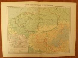 Ancienne Carte Hypsométrique BELGIQUE 1:800.000 Gravé Par Guillot - Atlas Grégoire Librairie Garnier - Geographical Maps