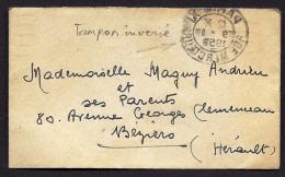 LETTRE  ANCIENNE- FRANCE-  TIMBRE N° 849 AU VERSO TAMPON INVERSÉ AU RECTO - Marcophilie (Lettres)