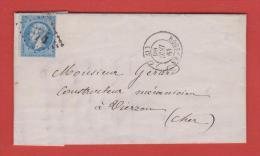 Bourges 1866 Pour Vierzon + 4201 - Marcophilie (Lettres)