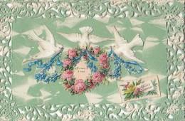Fantaisies - Carte Papier Dentelle Découpi Colombes Et Roses - Cartes Postales