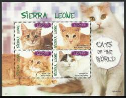 sie0917sh Sierra Leone 2010 Cats s/s