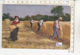 PO1860C# AUGURALE PER LA CASA DEL PANE PATRONATO REGINA MADRE - AGRICOLTURA - RACCOLTA DEL GRANO  VG Scanno 1908 - Patriottisch