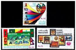 PAKISTAN 1988 MNH 4th SAARC Conference Islamabad Flags Of India Nepal Maldives Bhutan Bangladesh Sri Lanka, Complete Set - Stamps