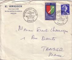 ALGERIE - ORAN - 1ER JOUR DU TIMBRE DE METROPOLE LE 22-7-1958 - LETTRE POUR TANGER AU MAROC-COTE 40€.. - Algérie (1924-1962)