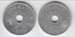 **** JETON - MONNAIE DE NECESSITE - PESSAC - 1 FRANC COOPERATIVE - ALUMINIUM **** EN ACHAT IMMEDIAT - Monétaires / De Nécessité