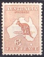 Australia 1913 Kangaroo 5d Chestnut 1st Watermark MH - - 1913-48 Kangaroos