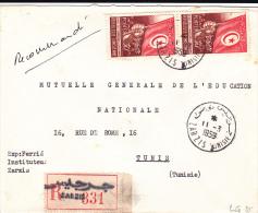 TUNISIE - 1959 - ENVELOPPE RECOMMANDEE De ZARZIS Pour TUNIS - Tunisie (1956-...)