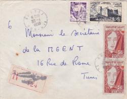 TUNISIE - 1959 - ENVELOPPE RECOMMANDEE De SOUSSE Pour TUNIS - Tunisie (1956-...)