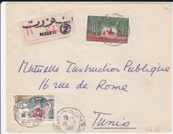 TUNISIE - 1960 - ENVELOPPE RECOMMANDEE De BIZERTE Pour TUNIS - Tunisia (1956-...)