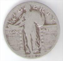 U.S.A. - STATI UNITI D' AMERICA - QUARTER DOLLAR ( 1927 ) STANDING LIBERTY - AG / SILVER - Emissioni Federali