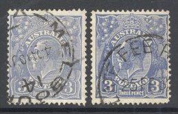AUSTRALIA, 1926-30 3d (both Die I And Die II) VFU, Cat £8 - Used Stamps