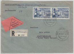 00324 Luxemburg Luxembourg-Gare 1947 Recom.remboursement(étiq) TP 399 Paire V.Gand - Lussemburgo