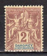 """(S0224) DAHOMEY, 1905 (""""Tablet""""-type, 2c., Brown And Blue On Buff). Mi # 7. Mint Hinged* Stamp - Unused Stamps"""