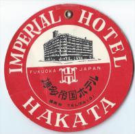Japon/Imperial Hotel Hakata / Années 1960-1970       JAP6 - Hotel Labels