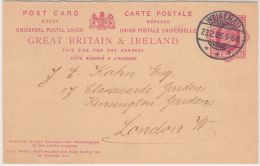 00346 Great Britain 1906 CP/PC Reply Card - Carte Réponse  Used In Germany C.Weisenau To London - Entiers Postaux