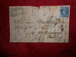 BB-10_lettre DeParis Avec N°14  Variété - Postmark Collection (Covers)