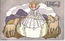 8116 - Joyeuses Pâques Illustrateur Tchèque  Bergère Et Ses Moutons - Pasen
