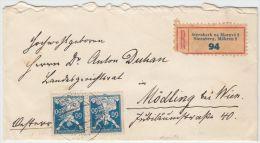 00982 Sternberk Na Morave 1922 Registered  To Mödling Bei Wien - Briefe U. Dokumente
