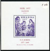 """Rwanda YT BF 80 ** : Noël 77 , """"Nativité"""" De Rubens - 1977 - Rwanda"""
