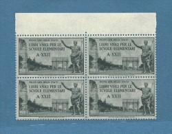 MARCA DA BOLLO/REVENUE - LIBRI UNICI PER SCUOLE ELEMENTARI A - XXII - QUARTINA NUOVA ** - Revenue Stamps