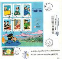 BF.Voyages De Tintin,BF 109 Sur Lettre Recommandée Adressée En Andorre,timbre A Date Arrivee Andorre Recto. - Comics