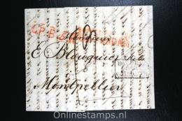 Nederland: Brief Amsterdam Naar Montpellier, 1822, L.P.B. 5 R, Transitstempel Pays-Bas Par Valenciennes - Niederlande
