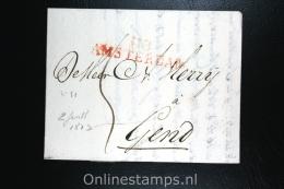 Nederland: Complete Brief Dep Stempel Amsterdam Naar Gend Gent 1813, - Nederland