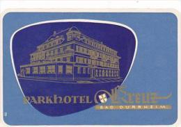 GERMANY BAD DUERHEIM PARKHOTEL KREUZ VINTAGE LUGGAGE LABEL - Etiquettes D'hotels