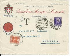 TAS024 -50 CIMPERIALE CON SEGNATASSE 1 L N. 42 SU FRONTESPIZIO TASSATA DA SASSUOLO A FERRARA -11.12.1939 - Storia Postale
