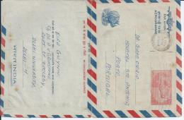 India.Aerograma Stationery 85p Circulated Delhi 1971 To Porto.Plays A Hippo.Themes Airmail,Animals.2scn. - Rinocerontes