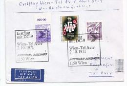 BRIEFMARKEN ERSTTAG Flugzeuge, ERSTFLUG DOUGLAS DC-9  WIEN- TEL AVIV DER AUSTRIAN AIRLINES   2.10.1971. - Unclassified