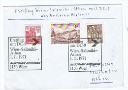 BRIEFMARKEN ERSTTAG Flugzeuge, ERSTFLUG DOUGLAS DC-9  WIEN- SALONIKI-ATHEN DER AUSTRIAN AIRLINES   1.11.1971. RETURN - Timbres