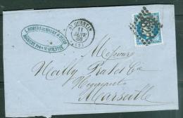 Yvert N°22 ( Défectueux ) /  LAC  Oblitéré Gc 3827  En Janv 1866 - Au3605 - 1862 Napoleon III