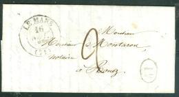 Timbre à Date Le Mans En 1845 Sur LaC ,  Pour Rouez  , Taxe 2 Décimes, + 1 DECIME RURAL Au3613 - Marcophilie (Lettres)