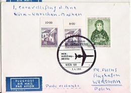 BRIEFMARKEN ERSTTAG Flugzeuge, ERSTFLUG DOUGLAS DC-9  CARAVELLE-FLUGAUSTRIAN AIRLINES WIEN-WARSCHAU-MOSKAU  1964 - Timbres