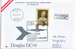 BRIEFMARKEN ERSTTAG Flugzeuge, ERSTFLUG DOUGLAS DC-9 WIEN-GRAZ AUSTRIAN AIRLINES  1971 RETURN - Timbres