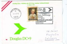 BRIEFMARKEN ERSTTAG Flugzeuge, ERSTFLUG DOUGLAS DC-9 GRAZ-SALZBURG AUSTRIAN AIRLINES/SWISSAIR  1972 RETURN - Timbres