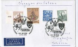BRIEFMARKEN ERSTTAG ERSTFLUG  WIEN-TEHERAN-BANGKOK-SINGAPORE  SABENA  1972 RETURN - Flugzeuge