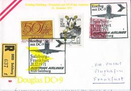 BRIEFMARKEN ERSTTAG ERSTFLUG DOUGLAS DC-9   SALZBURG-FRANKFURT AUSTRIEN AIRLINES 1971 RETURN - Flugzeuge