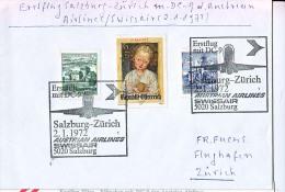 BRIEFMARKEN ERSTTAG ERSTFLUG DOUGLAS DC-9   SALZBURG-ZÜRICH AUSTRIEN AIRLINES/SWISSAIR 1972 RETURN - Flugzeuge